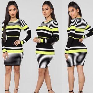 Neon Green Striped Dress